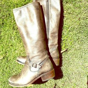 Frye Melissa Grey Zip Belted Riding Boots